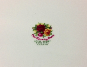 Original backstamp used on Royal Albert Old Country Roses pieces from 1962 to 1973