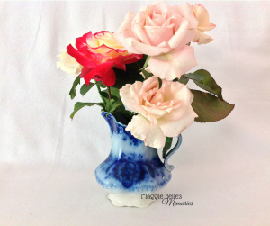 Johnson Brothers Florida Flow Blue jug with Hybrid tea roses