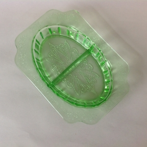 Green Depression Glass Adam Art Deco design Divided Relish by Jeannette
