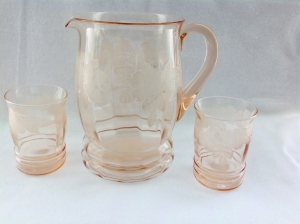 Pink Dogwood Depression Glass Pitcher and Tumblers by MacBeth Evans