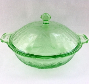 Green Floral Poinsettia Depression Glass Covered Bowl