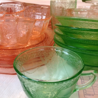 Pink Princess Depression Glass Green Georgian Depression Glass
