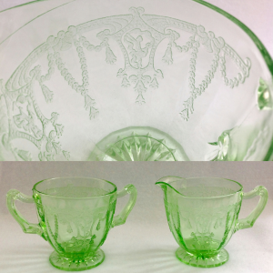 Hocking Green Cameo Depression Glass Sugar and creamer with close up of pattern