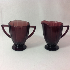 Hazel Atlas Newport Amethyst Depression Glass Sugar and Creamer
