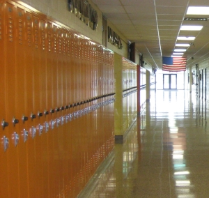 school hallway with American Flag