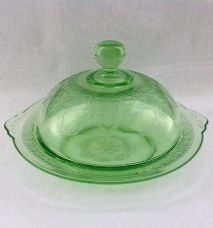 Federal Georgian Lovebirds Depression Glass Green Covered Butter - Author's Collection