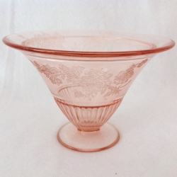 Pink floral Depression Glass Compote