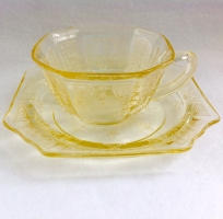 Hocking Princess Yellow Depression Glass Cup and Saucer